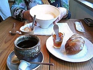 珈琲+焼き立てパン+ミルクコーヒー