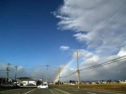 R115とフルーツライン合流近くの二重虹
