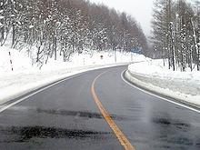 冬の土湯峠