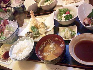 お刺身と天ぷらのお膳