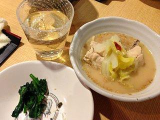 水炊きと青菜