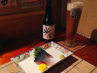 〆鯖と福島路ビール
